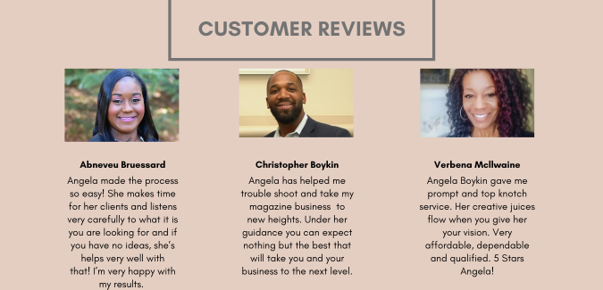 Angela Boykin gave me prompt and top knotch service. Her creative juices flow when you give her your vision. Very affordable, dependable and qualified. 5 Stars Angela! (2)